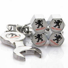 Car Accessories Tire Valve Cap Valve Dust Cover Wrench Keychain Logo For Peugeot