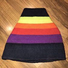 Vtg 70s 80s SMILEY Rainbow Striped Apres Ski BEANIE Cap Snow Hat toboggan Gaper