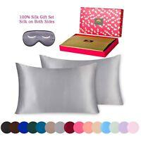 BlueHills 100%Pure Mulberry Silk Pillowcase 3piece Gift Set Standard Silver Grey