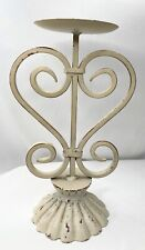 Vintage Heavy Made Scroll Pillar Candle Holder Cast Iron Cream Color Candlestick