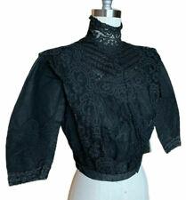 Antique Edwardian Gorgeous Black Silky Boned Mourning Jacket Dress Blouse as is
