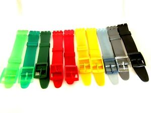 Replacement Resin Swatch 17mm Watch Strap Including Fitting Pins UK Seller