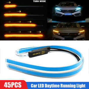 2pcs 45cm Ultra Thin Car Tube LED Strip Daytime Running Light Turn Signal Lamp