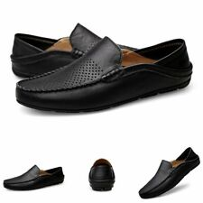 Italian Mens Shoes Casual Loafers Leather Light Breathable Slip on Boat Shoes