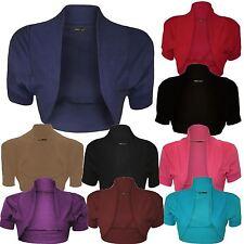 New Womens Plus Size Short Cap Sleeve Bolero Open Cardigan Tops 16-26
