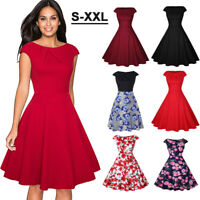 Women 50's Rockabilly Swing Evening Dress Vintage Floral Cocktail Party Dresses