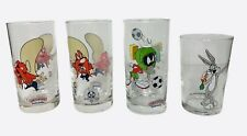 Looney Tunes Glass Cups Lot Smuckers Marvin Yosemite Sam & 1989 Bugs Bunny Cup