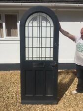 ART DECO GLASS FRONT DOOR WOOD RECLAIMED ARCHED OLD LEADED WOODEN ANTIQUE 1930s