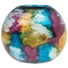 Stunning Ceramic Multi Coloured  Impressionist Flat Vase