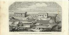 Stampa antica COMACCHIO Lavoriero pesca anguille Ferrara 1844 Old antique print