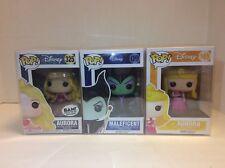 Funko Pop Disney Sleeping Beauty Aurora Maleficent Lot Vaulted Retired Protector
