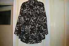LIZ  CLAIBORNE COTTON LONG SLEEVED BLOUSE IN DARK BROWN/WHITE - SIZE 3X - USED