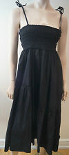 TWIN-SET SIMONA BARBIERI Black Elasticated Bust Pleated Sleeveless Maxi Dress S