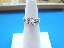 LQQK Beautiful Vintage 1/2 ctw Diamond Engagement Ring Set 14K White Gold sz 6