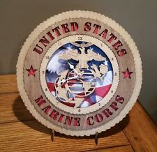 US Marine Clock Wall Tribute with Flag Background and Stand