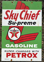 VINTAGE TEXACO SKY CHIEF PORCELAIN METAL SIGN USA OIL SUPREME PETROX GAS STATION