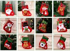12 PCS Christmas Stocking Socks Santa Claus Candy Bag Xmas Tree Hanging Ornament