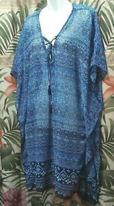 Tommy Bahama Swimsuit Cover Up With Tassels Blue Printed Geometric L/XL