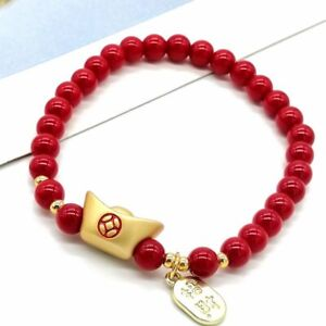 Men Women Chinese Red Agate Beads Bracelet Lucky Bangle Birthday Jewellery Gifts