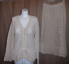 VINTAGE HAND LOOMED SWEATER AND SKIRT SET 100% IRISH LINEN