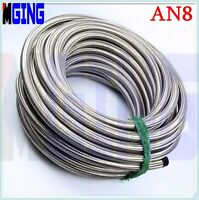 AN8 -8 AN AN-8 Hose Stainless Steel Braided Fuel Line Oil Gas Hose 1M Silver