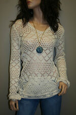 Women's Knitted Sweater with Hood, See-Through Top, White-Off Color