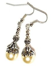 Long Classy Silver Ivory Pearl Pierced Earrings Glass Bead Antique Vintage Style