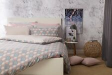 Prism Mosaic Design Polycotton Duvet Cover Set in Coral & Grey King Size