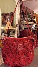 Genuine Italian Leather RED PYTHON Shoulder Bag by Marie Odile Soltek, NYC, NEW
