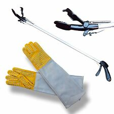 """ARD 36"""" Pro SNAKE TONGS Reptile Grabber Rattle Snake Catcher with Free Gloves"""