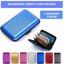 Credit Card Holder Aluminium Organizer Wallet Purse Snap Lock Protect Case Blue