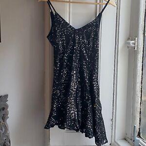 Topshop black sequin embellished godet mini dress size 6 BNWT