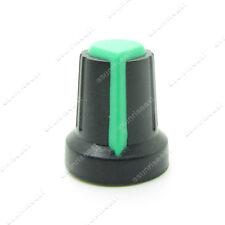 10 x Potentiometer Pot Knob Black With Green Pointer for 6mm Split Splined Shaft