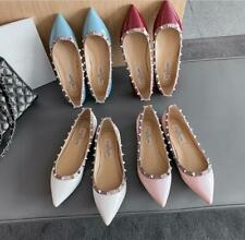 Women's Patent Leather Rivet Flats Shoes Pointy Toe Spikes Party Wedding Shoes