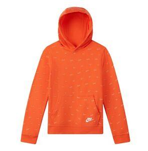 Nike Club Fleece Big Kids' (Boys') Printed Pullover Hoodie (Orange, Medium)