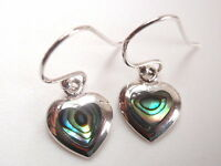 Small Abalone Hearts 925 Sterling Silver Dangle Earrings