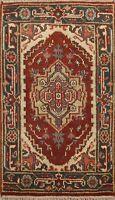 Geometric Indo Heriz Oriental Area Rug Wool Traditional Foyer Hand-Knotted 2x3