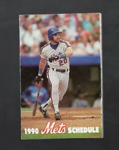 1990 NEW YORK METS POCKET SCHEDULE WITH JOHNSON SPONSORED BY MET LIFE INS