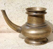 1910s Old Antique Beautiful Shape Handmade Heavy Brass Holy Water Pot / Jug #14