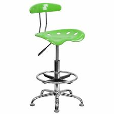 Flash Furniture Chrome Low Back Drafting Stool With Tractor Seat Vibrant Apple