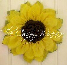 Large Yellow Burlap Sunflower Wreath, Spring Wreath, Summer Wreath