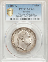 1866-A German States Prussia Silver 1 Thaler PCGS MS66 GEM, Victory of Austria!