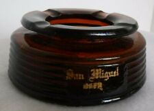 """San Miguel Beer Amber Glass Ashtray Royal Grant Since 1890 """"From Guam Sept,1965"""""""