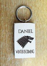 Personnalisée game of thrones house stark dire wolf porte-clés cadeau clés