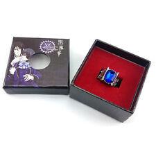 Fashion Anime Black Butler Ciel Sapphire Alloy Finger Ring & Box Cosplay Gift