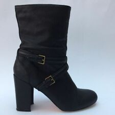Buckle Block Heel Mid-Calf Boots for Women