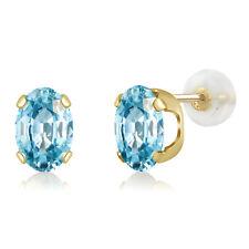 2.40 Ct Oval 7x5mm Blue Zircon 14K Yellow Gold Stud Earrings