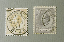 Netherlands 1872-1888 William III 50 Cent and 1 Guld Postage Stamps Used