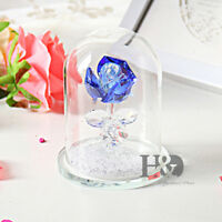 Blue Rose Crystal Glass Wedding Party Decor Paperweight Ornament Mother Day Gift