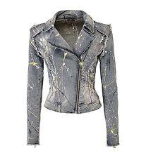 GUESS Jeans Women Paint Splatter Denim  Jacket SZ S Biker Look $158